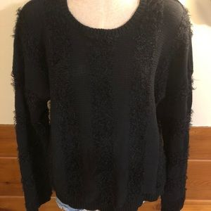 Black Slouchy Vans Soft Mohair Striped Sweater
